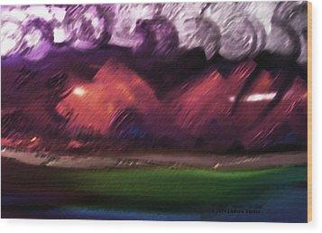 Storm At Sundown Wood Print by Lenore Senior