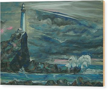 Storm Breaking Wood Print by Peter Suhocke