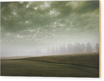 Storm Clouds And Foggy Hills Wood Print by Vast Photography