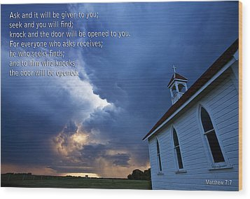 Storm Clouds And Scripture Matthew Country Church Wood Print by Mark Duffy