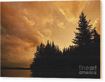 Storm Clouds At Sunset Wood Print by Larry Ricker