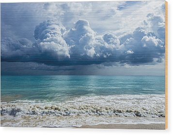 Storm Clouds At Waimanalo Wood Print