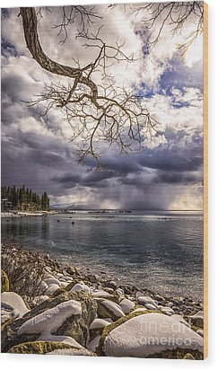 Storm Clouds From Cave Rock Wood Print