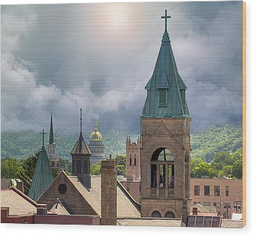 Storm Clouds In Charleston Wv Wood Print by Mary Almond