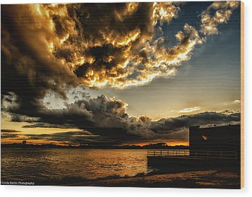 Wood Print featuring the photograph Storm Clouds by Linda Karlin