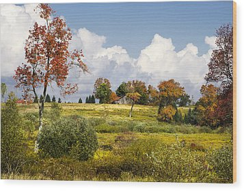 Storm Clouds Over Country Landscape Wood Print by Christina Rollo