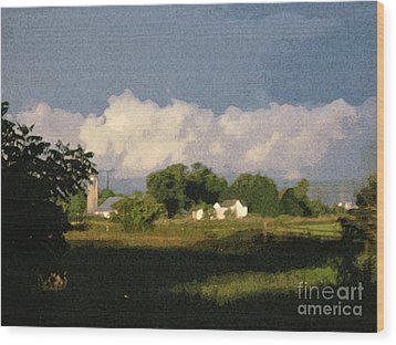 Storm Clouds Over Michigan Farm At Sunrise Wood Print