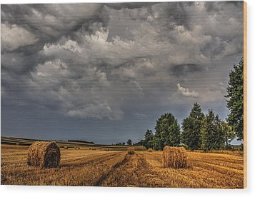Storm Clouds Over Harvested Field In Poland 2 Wood Print by Julis Simo