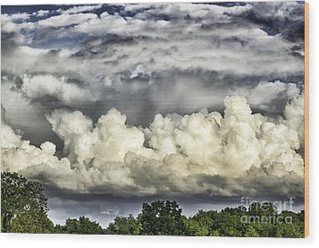 Storm Clouds Over Mountain Wood Print by Thomas R Fletcher