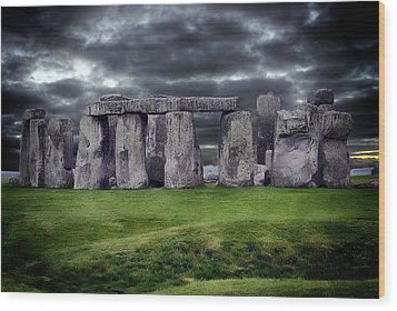 Storm Clouds Over Stonehenge Wood Print