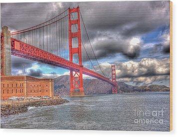 Storm Clouds Over The Golden Gate Bridge 2 Wood Print