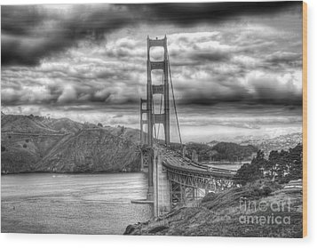 Storm Clouds Over The Golden Gate Bridge Wood Print