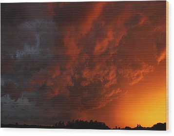 Wood Print featuring the photograph Storm Clouds Over Yorkton II by Ryan Crouse
