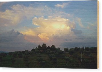 Storm Clouds Reflecting Sunset Wood Print by Dorothy Berry-Lound