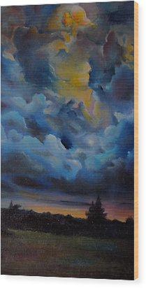Storm Coming At The Sunset Wood Print by Alessandra Andrisani
