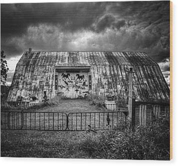 Storm Coming In On The Farm Wood Print by Thomas Young