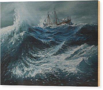 Storm In The Sea Wood Print by Shobita Sreekumar