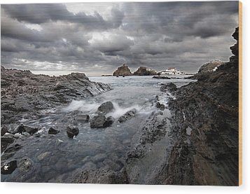 Storm Is Coming To Island Of Menorca From North Coast And Mediterranean Seems Ready To Show Power Wood Print by Pedro Cardona