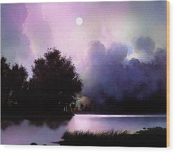 Storm Lake Wood Print by Robert Foster