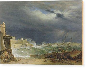 Storm Malta Wood Print by John or Giovanni Schranz