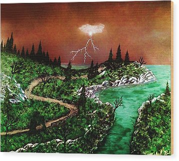 Wood Print featuring the painting Storm by Michael Rucker