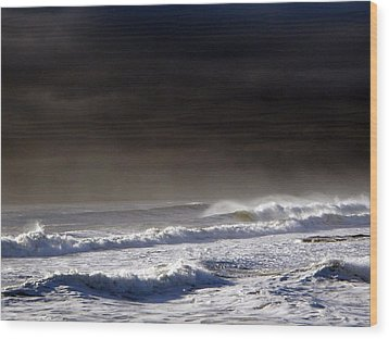 Storm Moving Out To Sea Wood Print by Anastasia Pleasant