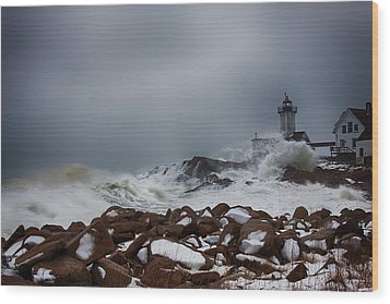 Storm Off Eastern Point Lighthouse Wood Print