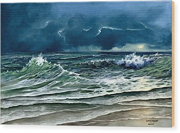Wood Print featuring the painting Storm Off Yucatan Mexico by Lynne Wright