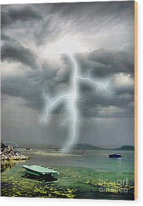 Storm On Balaton Lake Wood Print by Odon Czintos