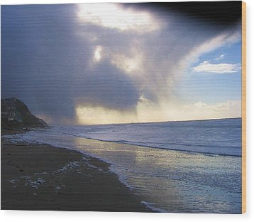 Storm On Beach Wood Print by Karen Molenaar Terrell