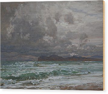 Storm On Black Sea Wood Print by Korobkin Anatoly
