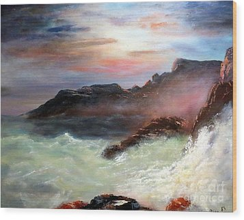 Storm On Mount Desert Island Wood Print by Lee Piper