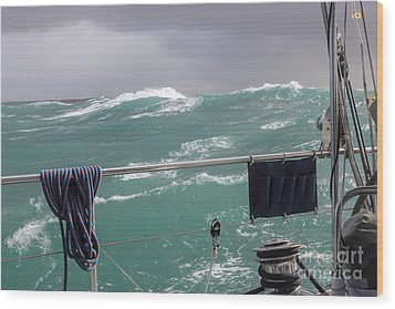 Storm On Tasman Sea Wood Print by Jola Martysz