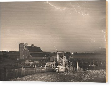 Storm On The Farm In Black And White Sepia Wood Print by James BO  Insogna