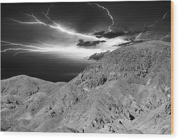 Storm On The Mountain Wood Print by Athala Carole Bruckner