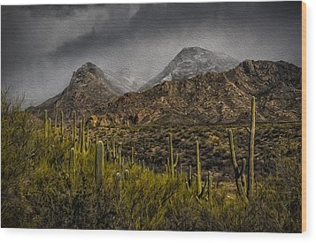 Storm Over Catalinas Aso Wood Print
