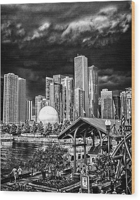 Storm Over Chi Town Wood Print by Robert  FERD Frank
