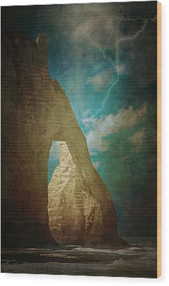 Storm Over Etretat Wood Print by Loriental Photography