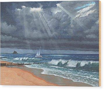 Storm Over Lindisfarne Wood Print by Richard Harpum