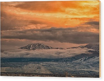 Storm Over Mt Rose Wood Print