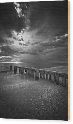Storm Over Naples Florida Beach Wood Print
