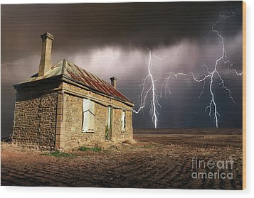 Storm Over Ruin Wood Print by Shannon Rogers