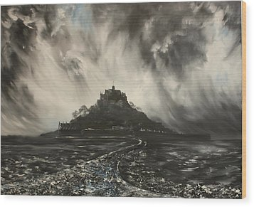 Wood Print featuring the painting Storm Over St Michaels Mount Cornwall by Jean Walker