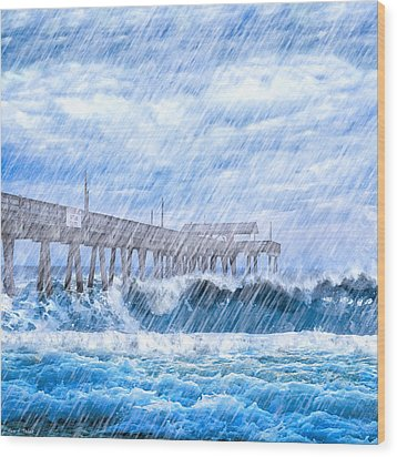 Storm Over The Sea - Tybee Pier Wood Print by Mark E Tisdale