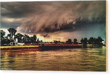 Storm Rolling In Wood Print by Cory Shoemaker