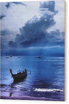 Storm Rolls Over The Sea Wood Print by Kaleidoscopik Photography