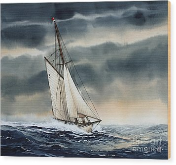 Storm Sailing Wood Print by James Williamson