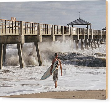 Storm Surfer Wood Print by Laura Fasulo
