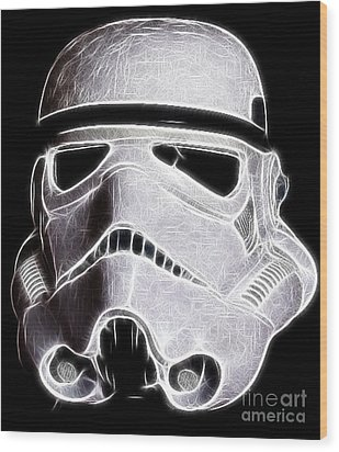 Storm Trooper Helmet Wood Print by Paul Ward