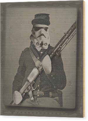 Storm Trooper Star Wars Antique Photo Wood Print by Tony Rubino